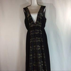 BCBGenerations Black /Gold Maxi Dress Large